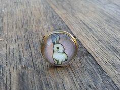 "Ring ""Cute Rabbit"" cabochon pink"