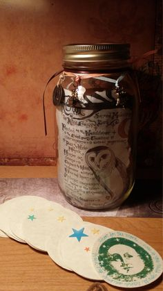 "Gratitude Mason Jar ""Owl Shamanism"" Color Art Print 32 oz Smooth, Beautiful Collaboration of Art, Style & Charm OOAK by Carole Anzolletti by ThePhantomQueensLab on Etsy"