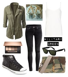 """""""Military Green"""" by our-jewel-garden ❤ liked on Polyvore featuring H&M, Comptoir Des Cotonniers, Yves Saint Laurent, Converse and Ray-Ban"""