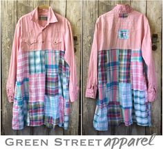 green street apparel, upcycled clothing, patchwork, ladies fashion, dress, tunic, reclaimed, recycled, remix clothing