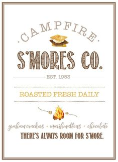 Free Campfire S'mores Co. So cute for summer! Comes with printable s'mores labels for mason jars too. Free Campfire S'mores Co. So cute for summer! Comes with printable s'mores labels for mason jars too. Summer Camp Quotes, Summer Sayings, Happy Fall Y'all, Fall Diy, In Kindergarten, Printable Wall Art, Printable Labels, Fall Crafts, Fall Decor