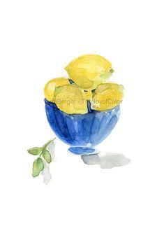Limones en un tazón azul es un archivo de obras de arte de mi acuarela original. El original fue vendido. . Me encanta el contraste entre el azul y amarillo. Me recuerda la maravillosa cerámica que vi en Amalfi (Italia), que a menudo la decoración de limones famosos allí. Edición limitada de 50. * marca de agua no aparece en la pintura * mat y marcos no están incluidos.  Datos de Imagen 5.4 X 6,8(13.5 X 17 cm) Papel A4 (21 x 29,7 cm) 8,3 x 11,7 Colores: Amarillo limón, azul, verde, cal…