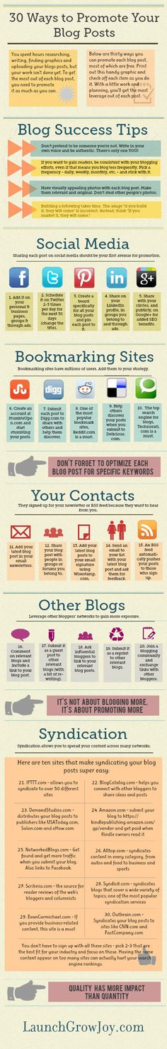 30 ways to promote your #blog posts & to boost traffic - #Infographic @Andreea Ayers @Jonathan Nafarrete Griffith Vessely Grow Joy Wondering what to do after you write a blog post? Here are 30 ways to promote your blog posts & to drive more traffic to your blog. Blogging has 3 proven ways to help #boost your #brand and market your business: generate traffic, leads & help spearhead your #social #media #marketing efforts  #OMG #Goodies #Stuff #internet #web #social #media #socialmedia…