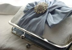 What a pretty little bag!  Elegant Ivory dupioni silk clutch by JuliaSherryDesigns