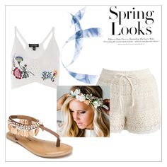 """""""No.31"""" by kajalsandy123 on Polyvore featuring Topshop, Chicwish, Emily Rose Flower Crowns, Penny Loves Kenny and H&M"""