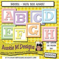 Auntie M Designs: Pastel Baby Blocks Digital Scrapbooking Freebies, Baby Blocks, Alphabet And Numbers, Scrapbook Supplies, Auntie, Creative Design, Baby Dolls, Pastel, Blog