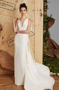 Simple elegant silk gown with sculpted bow. Carolina Herrera Spring 2017 Bridal Collection, Bridal Fashion Week