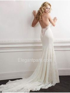 Fluted Halter Plunging Cathedral Train Lace Modern Wedding Dress (Editorials)