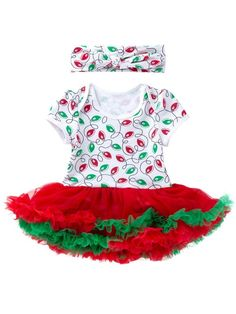 719901f8a Baby Girl Christmas Floral Romper Dress Short Sleeve with Headband Xmas  Party Clothes