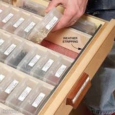 In this drawer, movable partitions are held in place by strips of foam weather stripping at the front and back. The 44-plus boxes rest on edge, labels up, for easy grabbing and stowing. The labels are typed on a computer and printed on sticky label sheets. Think of never having to wonder where to find a 1-in. drywall screw or a 3/8-in. washer! Shop for boxes at craft, tackle, office or dollar stores or online.