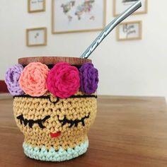 set matero tejido frida kahlo / set de mate tejido crochet