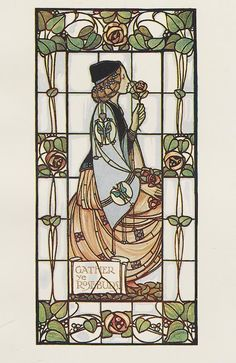 & Ldquo;  Gather Ye Rosebuds & rdquo;  Window designed by Alex.  Gascoyne.  Executed by Geo.  Gascoyne F. & amp;  His.  The Studio Year-book of Decorative Art.1906.