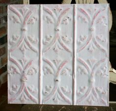 """12"""" Antique Tin Ceiling Tile -- Off White Paint -- Pretty Light Pink Highlights"""