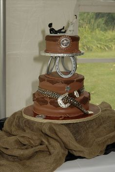 Western Wedding Cake - with my daughters hair-on western belt!
