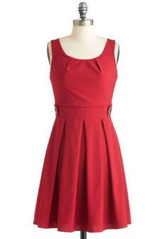 Coral Time's Sake Dress - Red, Red, Solid, Buttons, Pleats, Party, Casual, Vintage Inspired, A-line, Sleeveless, Mid-length, Coral, Fit & Flare