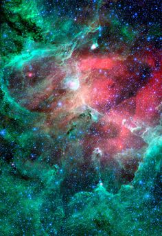 This majestic view taken by NASA's Spitzer Space Telescope tells an untold story of life and death in the Eagle nebula, an industrious star-making factory located 7,000 light-years away in the Serpens constellation. The image shows the region's entire network of turbulent clouds and newborn stars in infrared light.