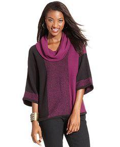 Style Sweater, Kimono-Sleeve Cowl-Neck Colorblock - Womens Sweaters - Macy's