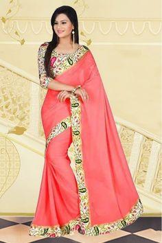 Chiffon Party Wear Saree in Peach Colour