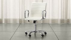 Ripple Ivory Leather Office Chair | Crate and Barrel