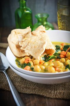 Vegan Coconut Curried Chickpea Soup- can probably use other greens (kale, spinach etc. instead of collards)