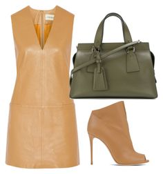 Tan & Green Leather by carolineas on Polyvore featuring polyvore, fashion, style, By Malene Birger, Casadei, Giorgio Armani and clothing