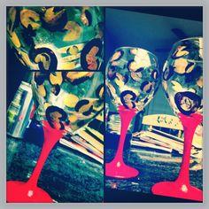 DIY wine glasses #wine #diy #cheetah