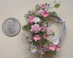 Dollhouse Miniature Shabby Chic Wreath one inch scale