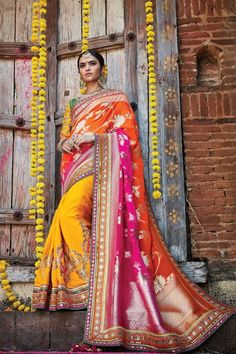 Orange Silk Wedding Saree
