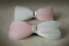 Feather Bow Tie Wedding Bow Tie Groom Bow Tie White and Blush Pink Bow Mans Tie For bow tie lovers looking for a unique design, feather bow tie is a perfect choice. This tie has White and Blush Pink feathers with brooch. This beautiful tie will add a detail to your overall look