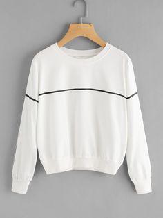 #AdoreWe #ROMWE Womens - ROMWE Line Print Round Neck Sweatshirt - AdoreWe.com PRECIO: $228 pesos