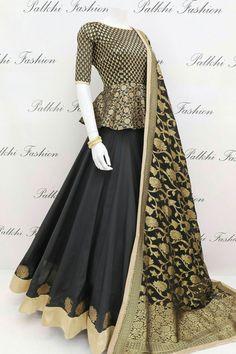 9 meter Full Flair Elegant Premium Silk Chaniya Choli With Designer Blouse & Dupatta - blouse Indian Fashion Dresses, Indian Gowns Dresses, Dress Indian Style, Indian Designer Outfits, Indian Outfits, Indian Wear, Long Dress Design, Stylish Dress Designs, Designs For Dresses
