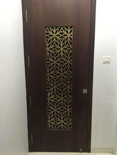 Metal Laser Cut Main Door Grill in Brass Antique Finish. Main Entrance Door Design, Home Entrance Decor, Door Gate Design, Room Door Design, Door Design Interior, Wooden Door Design, Front Door Entrance, Wooden Doors, Interior Modern