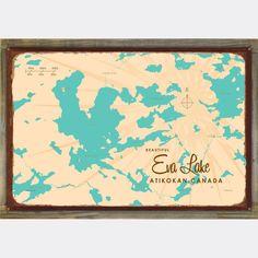 Eva Lake Ontario, Wood-Mounted Rustic Metal Sign Map Art - 12x18 inch / Black