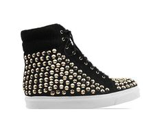 Black & Gold Alva Hi Sneaker #jeffreycampbell #jeffrey #campbell #hot #cute #new #gorgeous