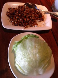 Lettuce cups and chicken. PF Chang's evening appetizers.  #healthy #living #fresh #foods