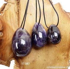 Lot 3 Oeufs YONI Améthyste quartz - Améthyste à Chevrons. Lot unique Cordon En Cuir, Quartz Rose, Chevrons, Pendant Necklace, Unique, Jewelry, Tumbled Stones
