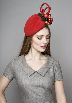 Rachel Trevor Morgan Orange felt pillbox with berries.  Different shape would be nice but love colors and berries and shirt