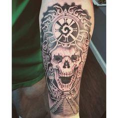 Aztec #Skull #Roses #AztecSkull #Life #Death #Monarch #Tattoo # ...