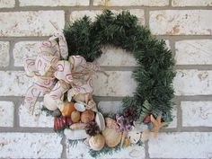 Christmas Coastal Wreath with Shells by HomeSweetCoast on Etsy, $35.00