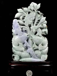 A Grade Natural Jadeite Jade Lotus Koi Fish Statue Carving Sculpture