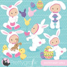 easter babies girl clipart commercial use by Prettygrafikdesign, $4.95