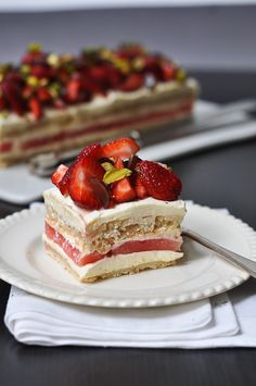 Strawberry & Watermelon Cake with Rose-scented Cream. One of the most delectable cakes i've ever tasted.