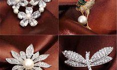 Accesoriu sub forma de brosa pentru femei moderne, cu imitatii de perle si zirconiu, model de lux