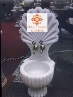 WHITE TWO PIECE LARGE HAMMAM SINK, 006 Turkish Coffee Set, White Two Piece, Turkish Bath, Grand Bazaar, Handmade Shop, Sink, Candles, Sink Tops, Vessel Sink