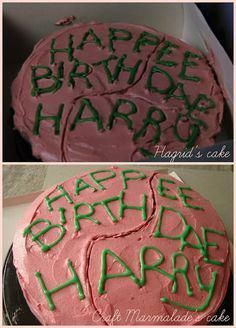 Harry Potter birthday cake - chocolate layer cake and raspberry buttercream. for a harry potter marathon! Harry Potter Marathon, Harry Potter Diy, Harry Potter Torte, Harry Potter Motto Party, Harry Potter Thema, Harry Potter Halloween Party, Harry Potter Birthday Cake, Harry Potter Movies, Harry Potter Cake Hagrid