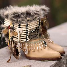 Ready Now size 8.5 / 39 Upcycled vintage cream and brown leather stacked heel boho gypsy boots COWBOY BOOTS ankle boots festival boots