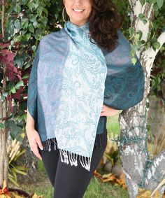 Look what I found on #zulily! Teal Arabesque Two-Tone Fringe Pashmina Scarf - Plus by Ananda's Collection #zulilyfinds