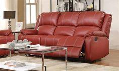 Zuriel Red PU Wood Metal Tight Back Motion Sofa