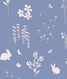 Summertime wallpaper in dorset blue and pink slip by Peony & Sage