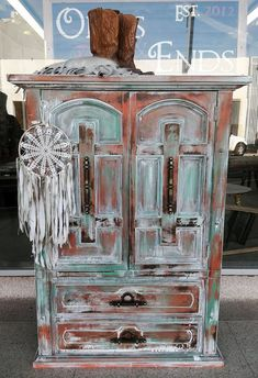 Can't get enough of this boho chic cabinet in GF Persimmon, Patina Green and Snow White Milk Paint by Odds and Ends. Bohemian Decor, Boho Chic, Chalk Paint Furniture, Milk Paint, Unique Furniture, Wood Crafts, Repurposed, General Finishes, Gypsy Soul